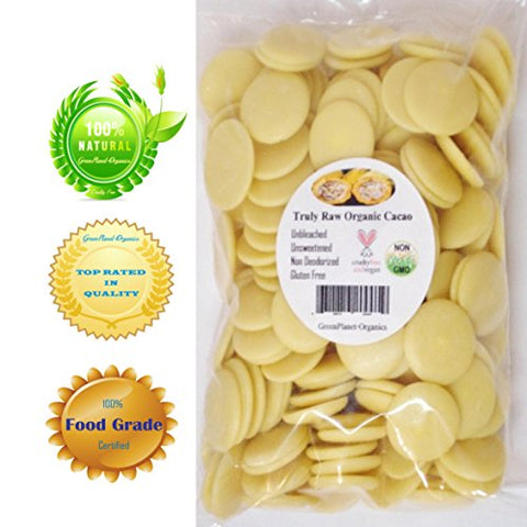 Certified Organic Delicious Cocoa Butter Wafers 3 LBS (For Amazing Coffees and Mouth Watering Brownies!)