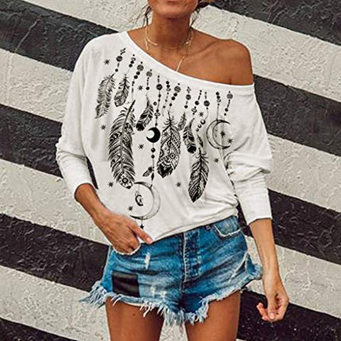 KASAAS Womens Tops, Vintage Print Sexy One Shoulder Long Sleeve Casual Baggy Pullover Tunic Sweatshirts Blouses(XL,White)