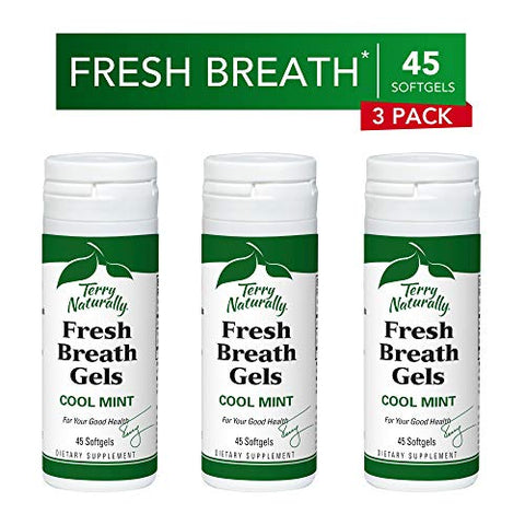 Terry Naturally Fresh Breath Gels (3 Pack) - Cool Mint Flavor, 45 Softgels - Sugar-Free Peppermint Oil Breath Mints, Chemical-Free - Non-GMO, Gluten-Free - 135 Servings