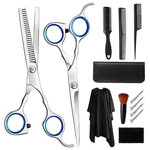 Professional Hair Cutting Scissors Set, CGBOOM 13Pcs Haircut Scissors Thinning Shears Multi-Use Haircut Kit Hairdressing Scissors Hair Cutting Shears for Barber Salon Home Hair Shears for Women Men