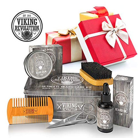 Viking Revolution Beard Care Kit For Men   Ultimate Beard Grooming Kit Includes 100% Boar Menâ??S Be
