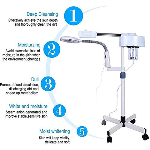 TXqueen 2 in1 Facial Steamer LED 5X Magnifying Floor Lamp Machine Multifunction Spa Professional Humidifier Beauty Facial Clean Skin Care Tool
