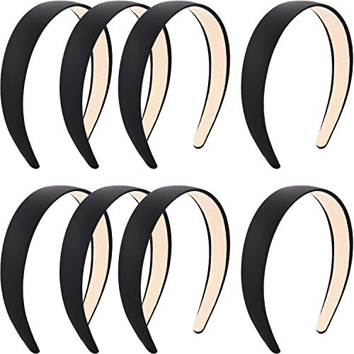 Blulu 8 Pieces Satin Headbands Anti-slip Ribbon Hair Bands for Women Girls Favors, 1 Inch Wide (Color Set 1)