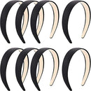 Image of Blulu 8 Pieces Satin Headbands Anti-slip Ribbon Hair Bands for Women Girls Favors, 1 Inch Wide (Color Set 1)