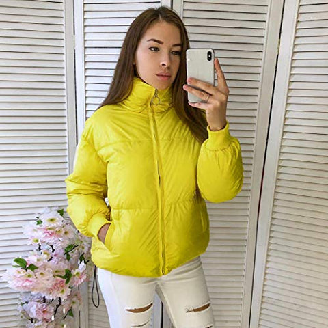 Willow S Women's Coat Winter Comfortable Warm Round Zip Pocket with Elasticated Cuffs Soft Cotton Jacket Coat for Women Yellow