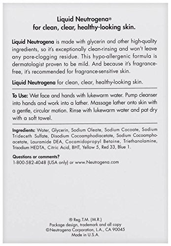 Liquid Neutrogena Fragrance Free Facial Cleanser With Glycerin, Hypoallergenic & Oil Free Mild Face