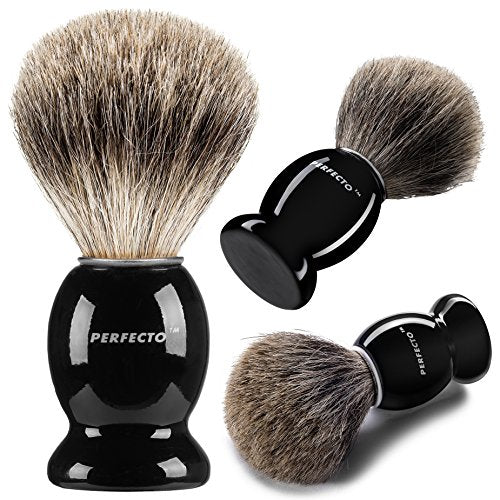 Perfecto 100% Pure Badger Shaving Brush Black Handle  Engineered For The Best Shave Of Your Life. Fo