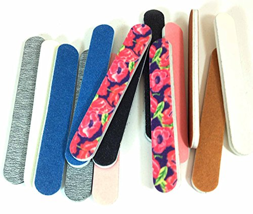 Iridesi Professional Colorful Mini Finger Nail Files Washable Emery Boards 3-1/2 Inches Long 12 Fing
