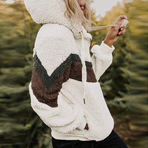 Willow S Sweatshirts for Women Autumn Contrast Color Plush Hooded Sweater White