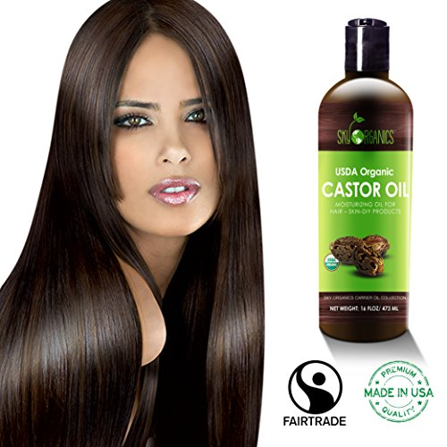 Castor Oil Usda Organic Cold Pressed (16oz) 100% Pure Hexane Free Castor Oil   Moisturizing & Healin
