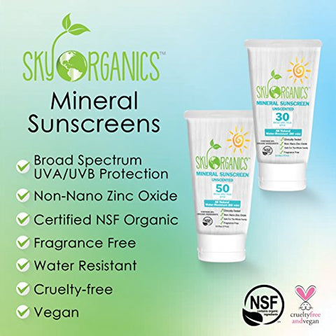 SPF50 Organic Sunscreen by Sky Organics Unscented Non-Nano Zinc Oxide Formula-Water Resistant Natural Mineral Sunscreen-Safe for the whole family-Certified Organic Baby Sunscreen-Huge Tube 6oz