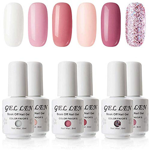 Gellen Gel Polish Set   Uv Nail Gel Polish 6 Colors Nail Art Manicure Pedicure Kit, Coral Peach