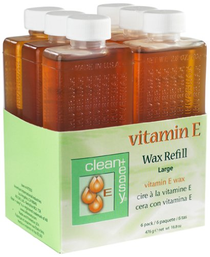 Clean & Easy Vit E Roll On Wax 6 Pack Large Vitamin E, Net Wt. 16.8 Oz
