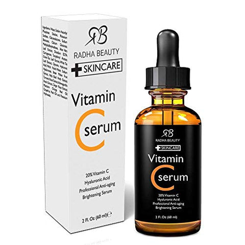 Radha Beauty Vitamin C Serum For Face, Huge 2oz   20% Organic Vitamin C + E + Hyaluronic Acid For An