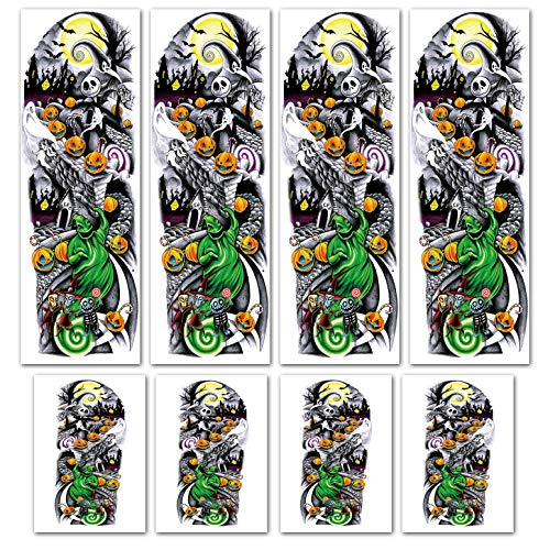Leoars Nightmare Before Christmas Large Arm Tattoos, 4 Sheet Full Arm Sleeve Temporary Tattoos And 4