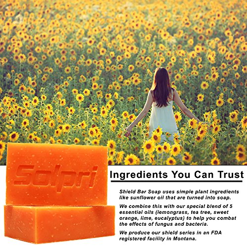 Solpri Shield Antifungal Soap Bar Lemongrass Tea Tree Eucalyptus 4 oz (2 Pack)
