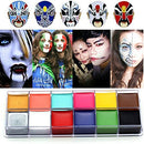Image of CCbeauty Professional Face Paint Oil 12 Colors Halloween Body Art Party Fancy Make Up with 6 Wooden Brushes,Deep