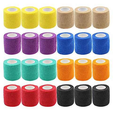 Self Adhesive Tape - Yuelong 24Pack 2 x 5 Yards Self-Adherent Cohesive Tape Tattoo Grip Wrap Cover Strong Sports Tape, Mix Color Self-Adhesive Bandage Rolls Athletic Tape