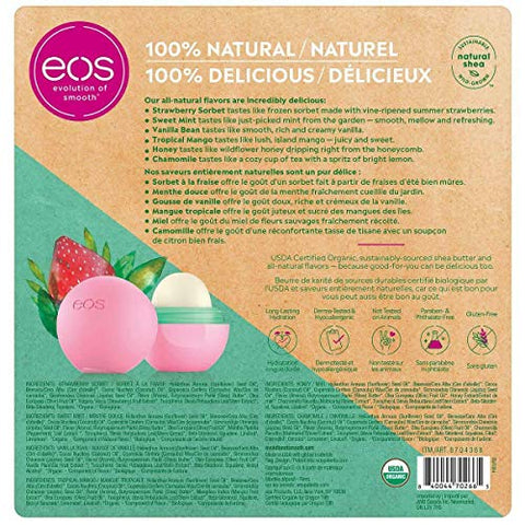 EOS 100% Natural and Organic Shea Lip Balm Sphere Variety Pack 6 Count - Strawberry Sorbet, Sweet Mint, Vanilla Bean, Tropical Mango, Honey and Chamomile