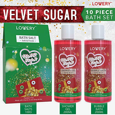 Bath And Body Christmas Gift Box For Women â?? 10 Piece Set Of Velvet Sugar Home Spa Set, Includes F