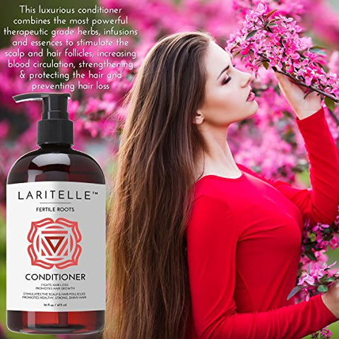 Laritelle Organic Conditioner, Fortifying, Strengthening and Rejuvenating, Stops Hair Shedding, Promotes New Hair Growth, Ayurveda Herbs, Lavender, Ginger, Rosemary, Patchouli and Cloves, 16 oz.