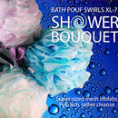 Image of Loofah Bath Sponge Swirl Set XL 75g by Shower Bouquet: Extra Large Mesh Pouf (4 Pack Color Swirls) Luffa Loofa Loufa Puff Scrubber - Big Full Lather Cleanse, Exfoliate with Beauty Bathing Accessories