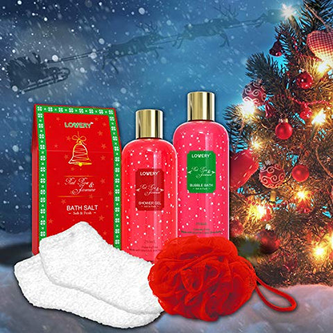 Bath and Body Christmas Gift Box For Women and Men - Red Rose and Jasmine Home Spa Set, Includes Fragrant Bath Salt, Body Lotion, Shower Puff, Holiday Plush Socks and More