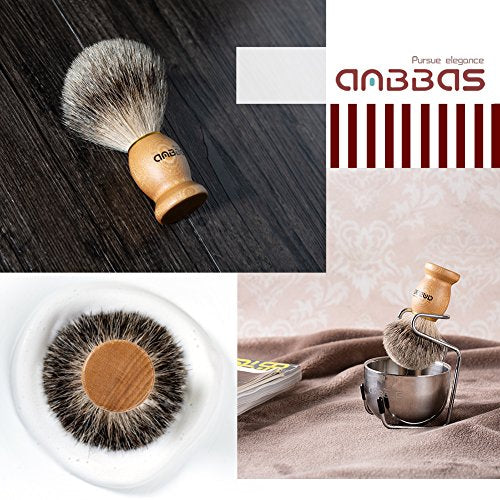Shaving Brush Set, 4pcs Anbbas Pure Badger Hair Brush Solid Wood Handle with Goat Milk Shaving Soap 100g,Stainless Steel Shaving Stand and 2 Layers Shaving Bowl Kit Perfect for Men Gift