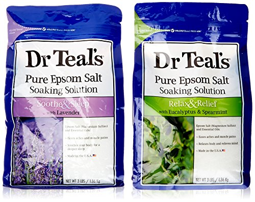 Dr Teal's Epsom Salt Bath Soaking Solution, Eucalyptus And Lavender, 2 Count, 3lb Bags   6lbs Total