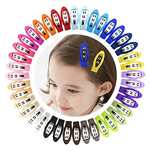 "Ruyaa 2"" Snap Clips No Slip Wrapped Hair Barrettes for Toddlers Girls Kids Women Hair Accessories,Solid 20 Pairs"