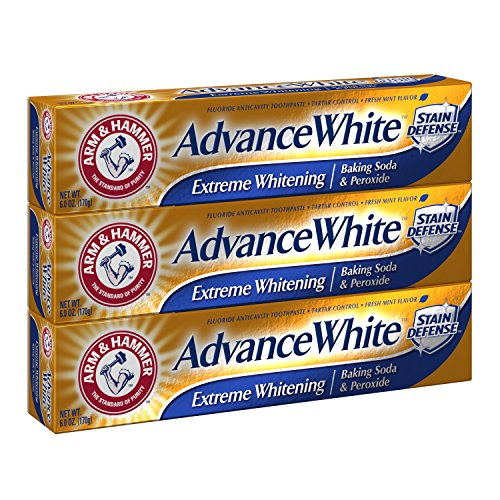 Arm & Hammer Advance White Extreme Whitening With Stain Defense, Fresh Mint, 6 Oz, 3 Count (Packagin