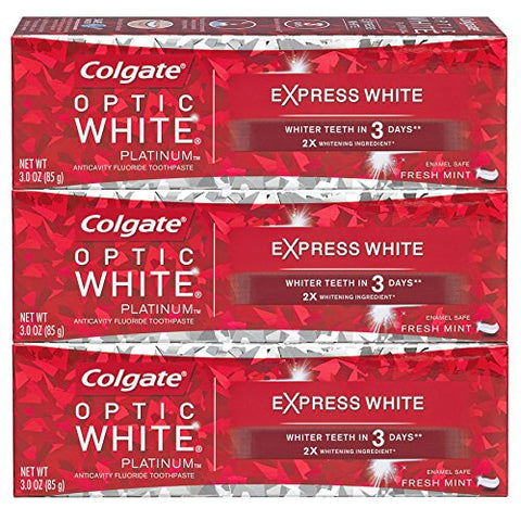 Colgate Optic White Express White Whitening Toothpaste, Travel Friendly   3 Ounce (3 Pack)