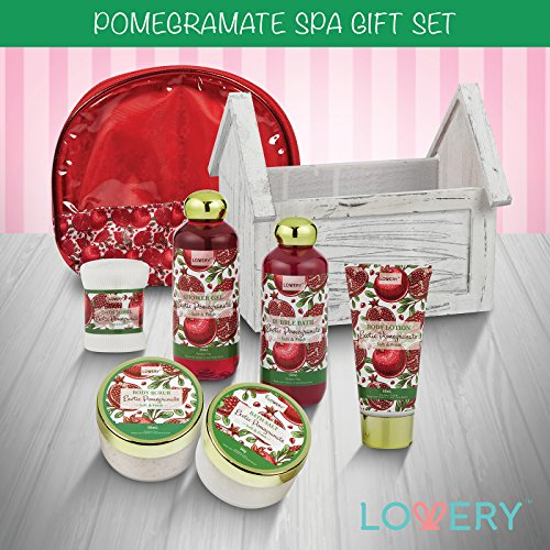 Father Day Gift   Home Spa Gift Basket, 8 Piece Bath & Body Set For Men/Women, Exotic Pomegranate Sc