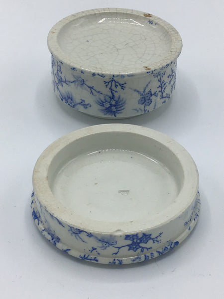 Antique English Ironstone Blue Transferware Swinton's Primrose Cold Cream Lidded Jar