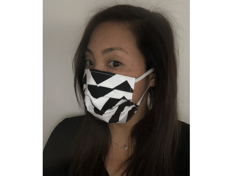 UNISEX FACE MASK<BR> ZIG ZAG BLACK