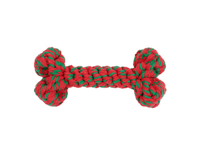 "Holiday Bone 11"" Rope Dog Toy"