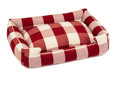 Buffalo Check Crimson Lounge Bed - Small