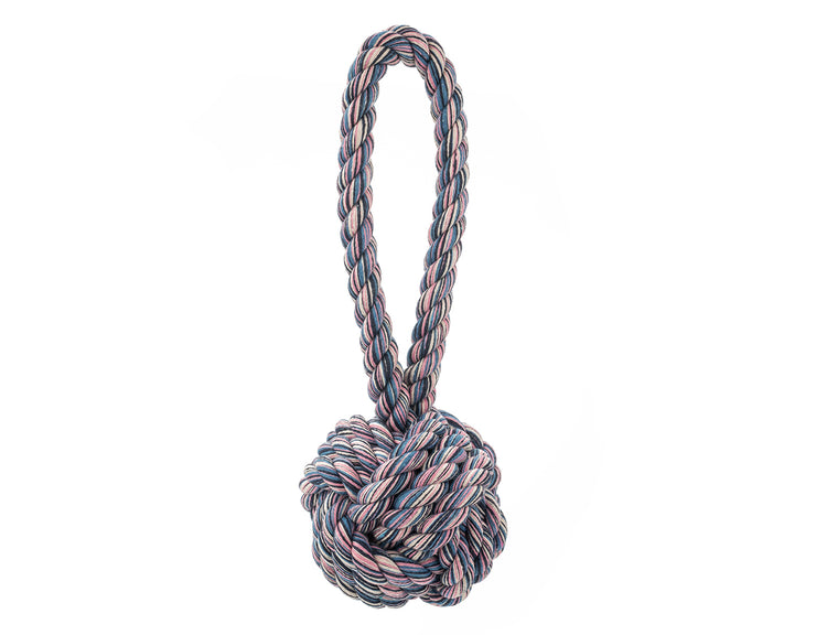 Navy, Blue, Creme and Pink Marbled Celtic Knot Rope Dog Toy