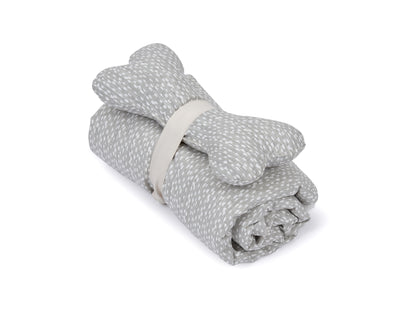 SlumberJax Dottie Grey Throw and Bone Toy Set