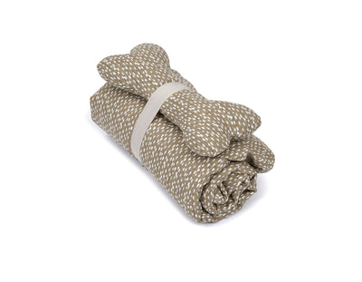 SlumberJax Dottie Tan Throw and Bone Toy Set