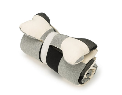 SlumberJax Plaid Graphite Throw and Bone Toy Set