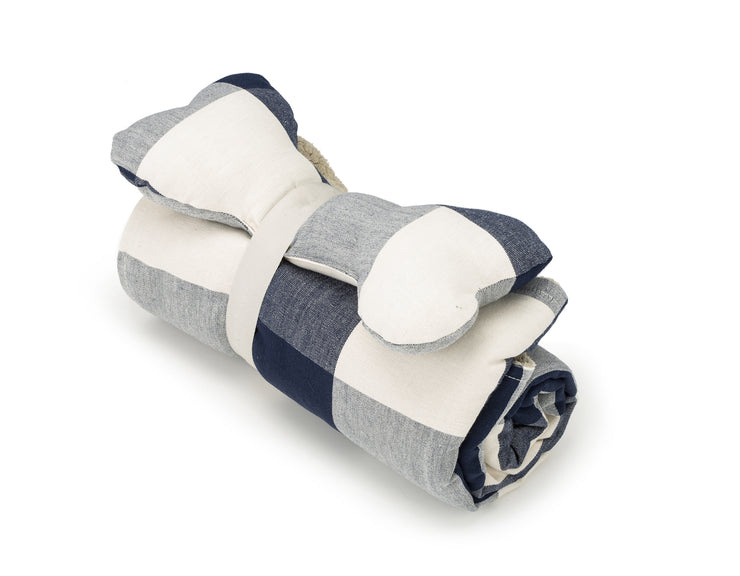 SlumberJax Plaid Ink Throw and Bone Toy Set