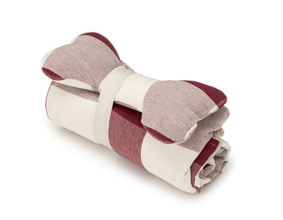 SlumberJax Plaid Tomato Throw and Bone Toy Set