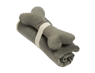 SlumberJax Spa Graphite Throw and Bone Toy Set