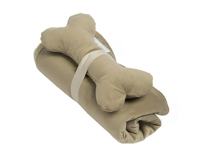 SlumberJax Spa Pecan Throw and Bone Toy Set