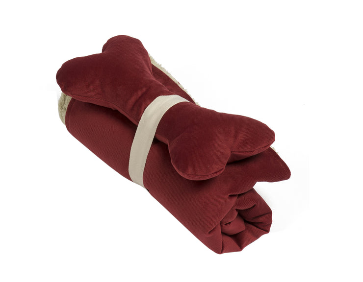 SlumberJax Spa Tomato Throw and Bone Toy Set