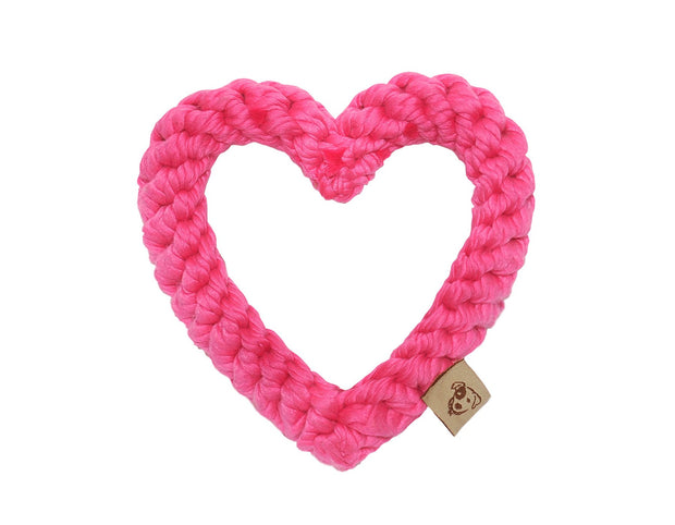 Pink Heart Rope Dog Toy