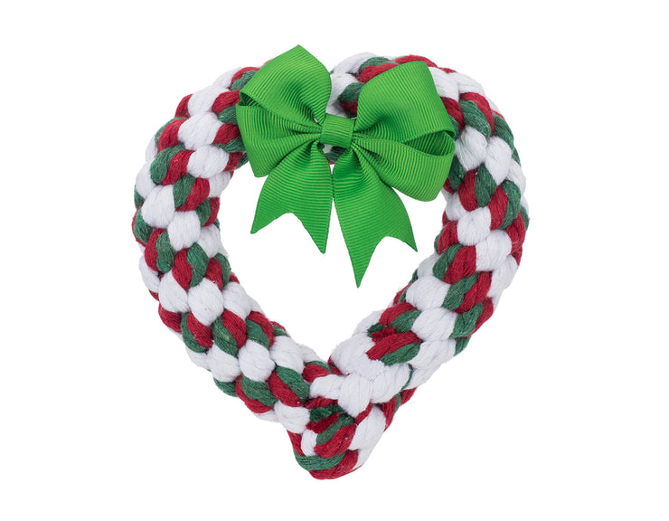 "Holiday Heart 7"" Rope Dog Toy"