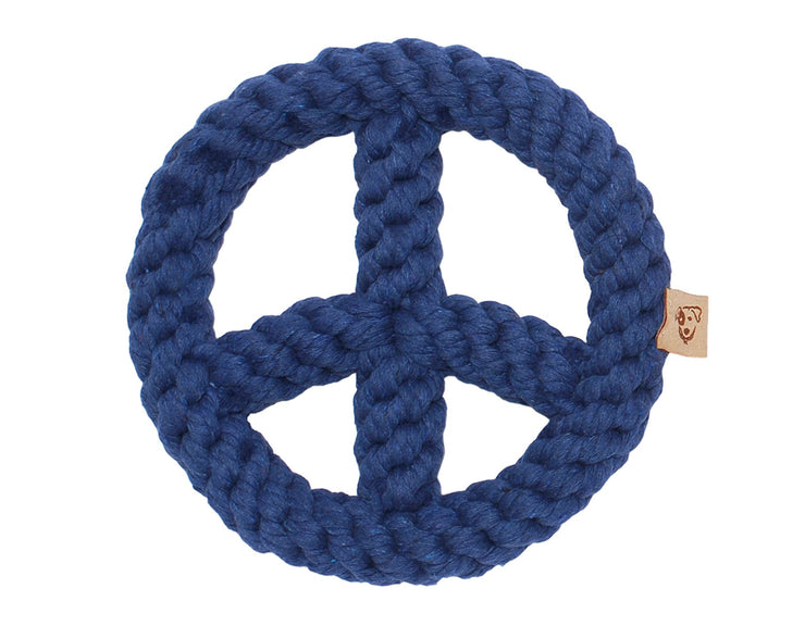 "Blue Peace Sign 7"" Rope Dog Toy"