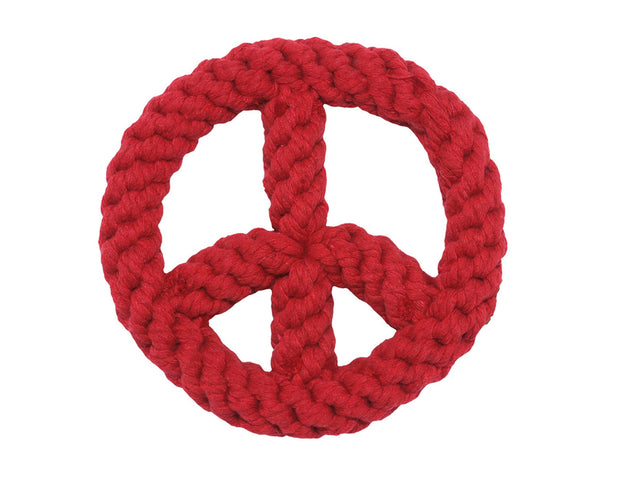Red Peace Sign Rope Dog Toy